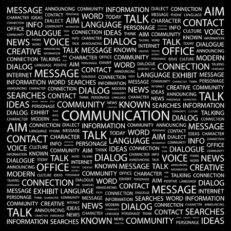 advisement: COMMUNICATION. Word collage on black background. Vector illustration.