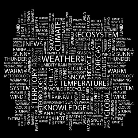 WEATHER. Word collage on black background. Vector illustration. Stock Vector - 7371309