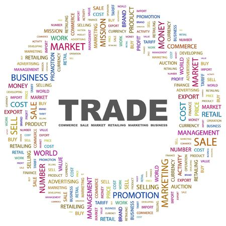 TRADE. Word collage on white background. Vector illustration. Stock Vector - 7371360