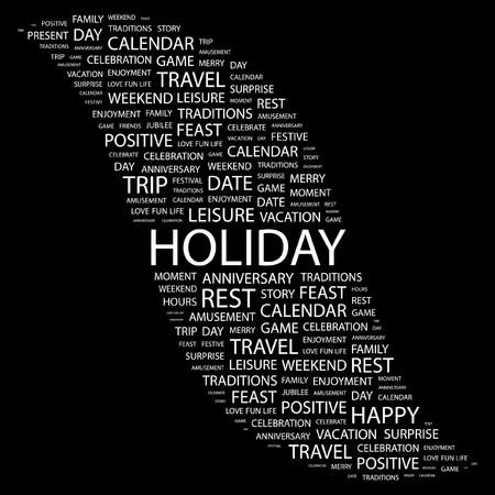 calendar background: HOLIDAY. Word collage on black background. Vector illustration.