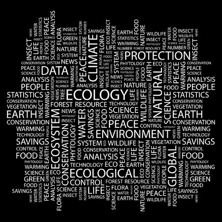 ECOLOGY. Word collage on black background. Vector illustration.   Vector