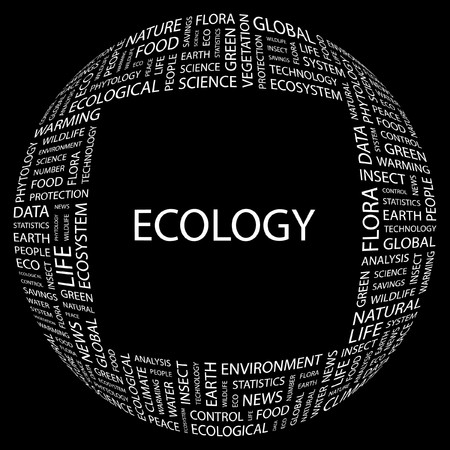 phytology: ECOLOGY. Word collage on black background. Vector illustration.