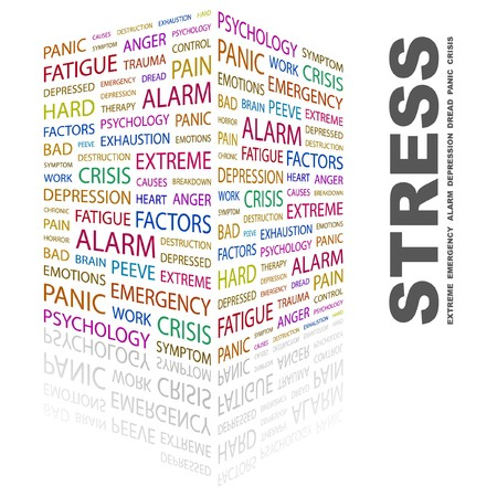 peeve: STRESS. Word collage on white background. Vector illustration.