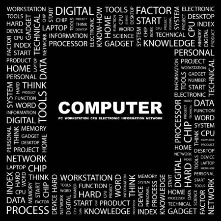 COMPUTER. Word collage on black background. Vector illustration.    Vector