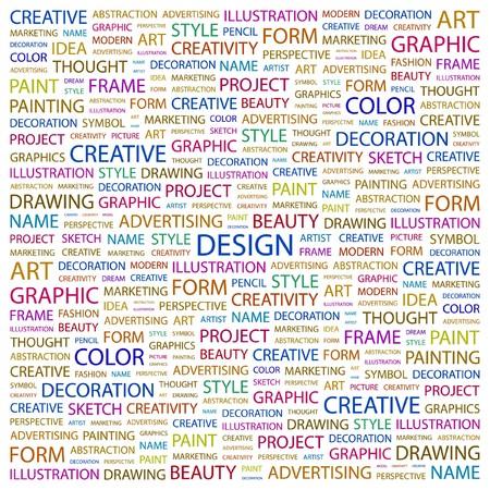 DESIGN. Wort Collage auf weißem Hintergrund. Vektor-Illustration.  Lizenzfreie Bilder - 7363882