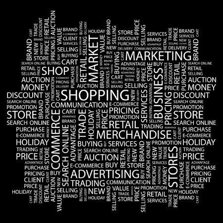 SHOPPING. Word collage on black background. Vector illustration. Stock Vector - 7363874