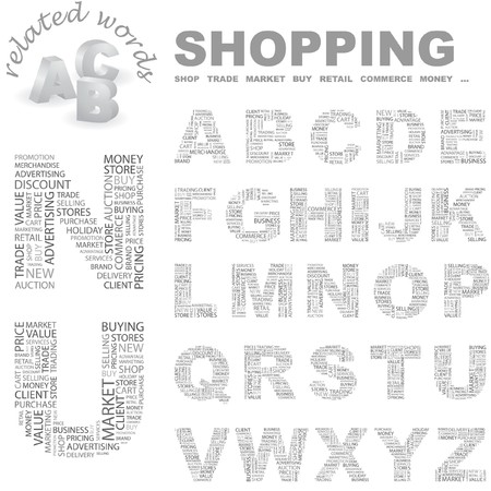 SHOPPING. Vector letter collection. Wordcloud illustration. Stock Vector - 7363902