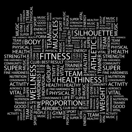 health club: FITNESS. Word collage on black background. Vector illustration.