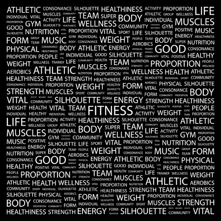 salubrity: FITNESS. Word collage on black background. Vector illustration.