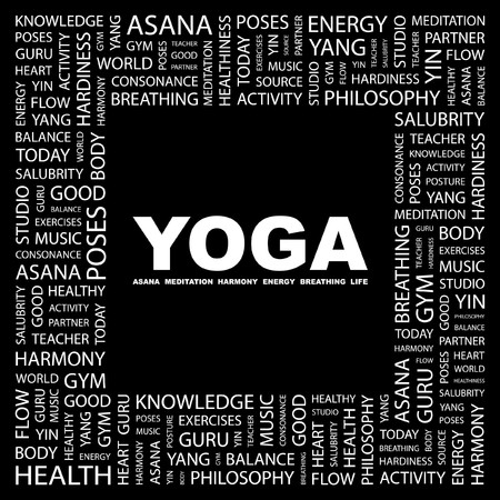 YOGA. Word collage on black background. Vector illustration. Stock Vector - 7363848