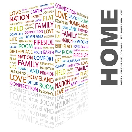 refinancing: HOME. Word collage on white background. Vector illustration.    Illustration