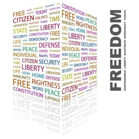 FREEDOM. Word collage on white background. Vector illustration. Stock Vector - 7363870