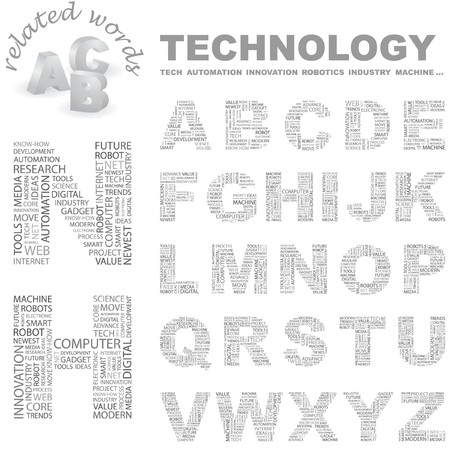 TECHNOLOGY. Vector letter collection. Wordcloud illustration.   Vector