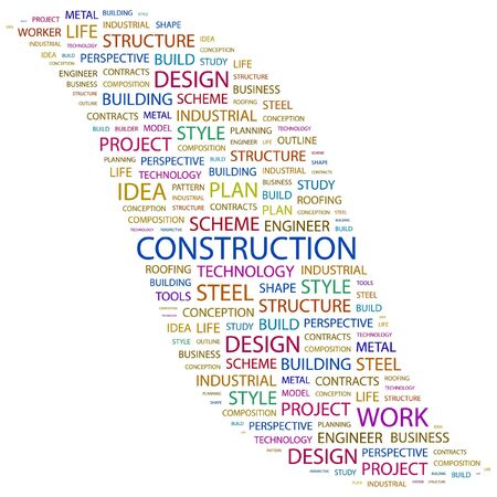 concrete form: CONSTRUCTION. Word collage on white background. Vector illustration.    Illustration