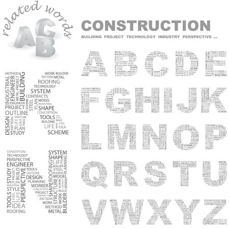 CONSTRUCTION. Vector letter collection. Wordcloud illustration.   Vector