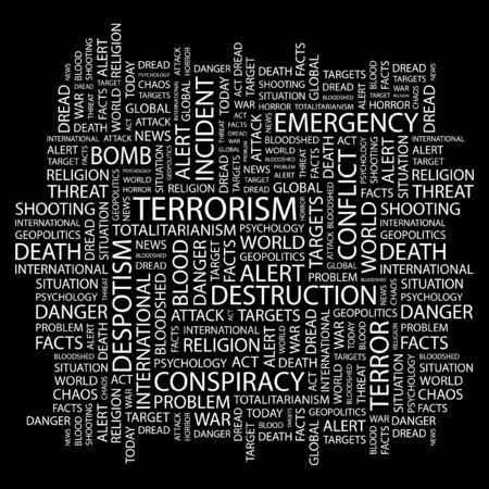 terrorists: TERRORISMO. Parola di collage su sfondo nero. Illustrazione vettoriale.