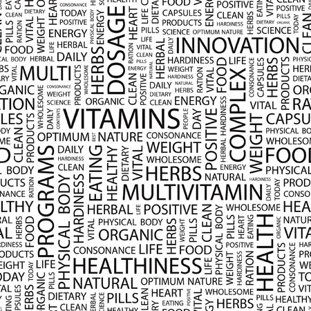 deficiency: VITAMINS. Seamless vector background. Wordcloud illustration.