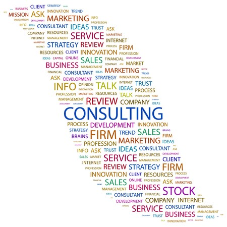 marketing mix: CONSULTING. Word collage on white background. Vector illustration.    Illustration