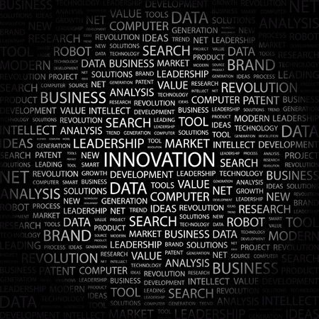 INNOVATION. Word collage on black background. Vector illustration.    Stock Vector - 7363880