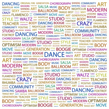 flit: DANCE. Word collage on white background. Vector illustration.