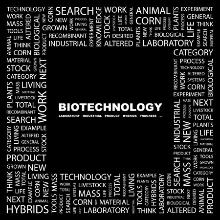 BIOTECHNOLOGY. Word collage on black background. Vector illustration.    Vector