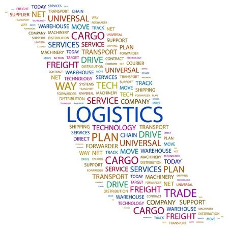 air freight: LOGISTICA. Parola di collage su sfondo bianco. Illustrazione vettoriale.