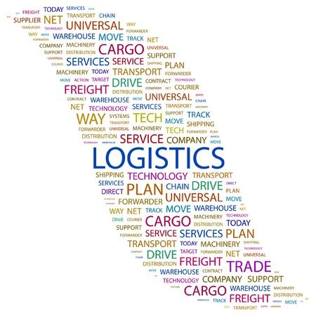 paper chain: LOGISTICS. Word collage on white background. Vector illustration.