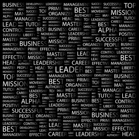 kingpin: LEADER. Word collage on black background. Vector illustration.
