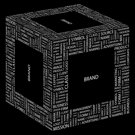brand tag: BRAND. Word collage on black background. Vector illustration.