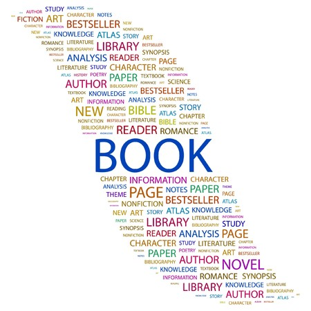 synopsis: BOOK. Word collage on white background. Vector illustration.