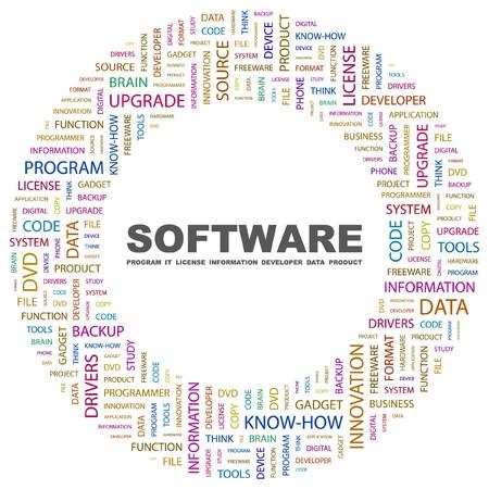 sistema operativo: SOFTWARE. Palabra collage sobre fondo blanco. Ilustraci�n vectorial.  Vectores
