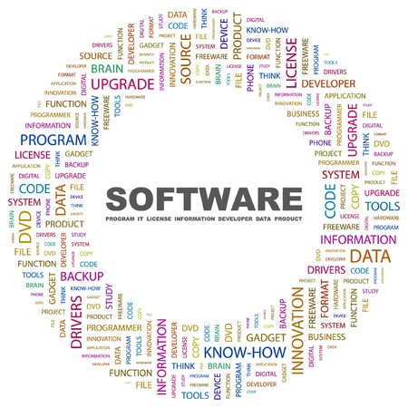 keywords background: SOFTWARE. Word collage on white background. Vector illustration.    Illustration