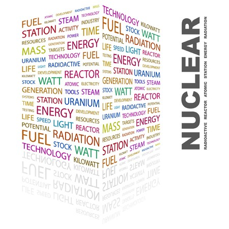 NUCLEAR. Word collage on white background. Vector illustration.    Illustration