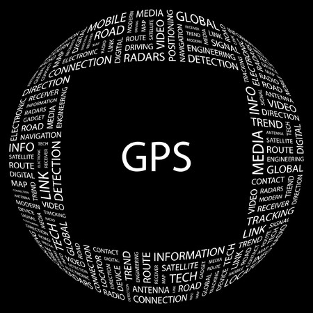 GPS. Word collage on black background. Vector illustration. Stock Vector - 7363865