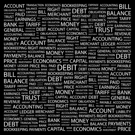 DEBIT. Word collage on black background. Vector illustration.    Vector