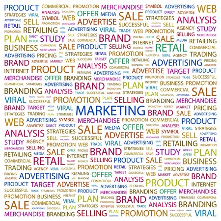 MARKETING. Word collage on white background. Vector illustration.    Vector