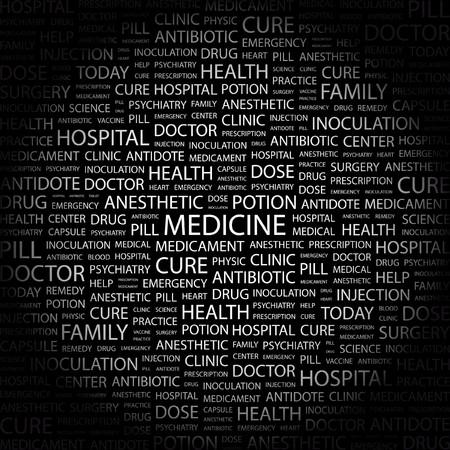 MEDICINE. Word collage on black background. Vector illustration.