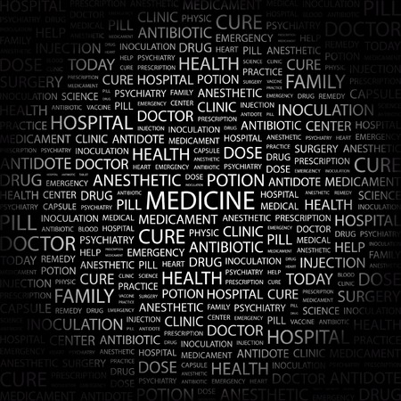 nursing associations: MEDICINE. Word collage on black background. Vector illustration.