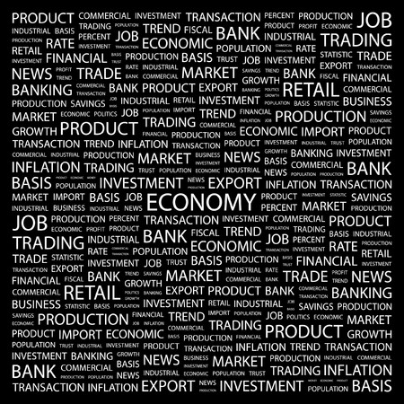 ECONOMY. Word collage on black background. Vector illustration. Stock Vector - 7363602