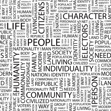 commonality: PEOPLE. Seamless vector pattern with word cloud.   Illustration