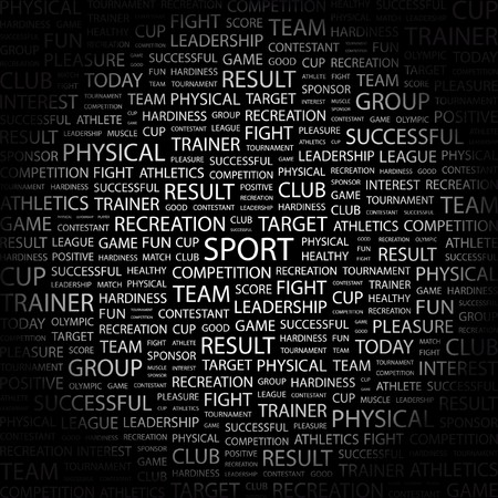 SPORT. Word collage on black background. Vector illustration.    Vector