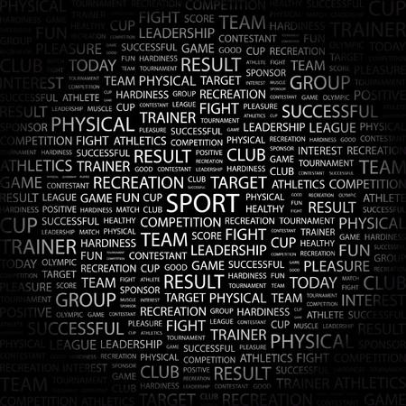 contestant: SPORT. Word collage on black background. Vector illustration.