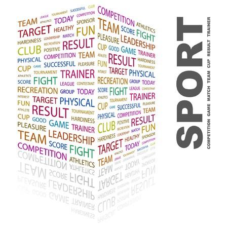 contestant: SPORT. Word collage on white background. Vector illustration. Illustration