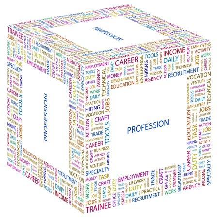 lifework: PROFESSION. Word collage on white background. Vector illustration.    Illustration