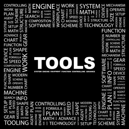 TOOLS. Word collage on black background. Vector illustration. Stock Vector - 7363529