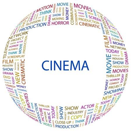 CINEMA. Word collage on white background. Vector illustration.    Illustration