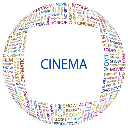 screenplay: CINEMA. Word collage on white background. Vector illustration.    Illustration
