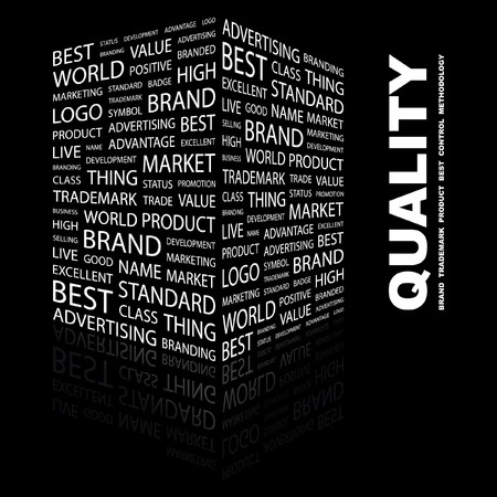 total: QUALITY. Word collage on black background. Vector illustration.