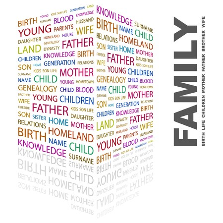 FAMILY. Word collage on white background. Vector illustration. Stock Vector - 7363581
