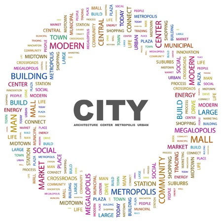 CITY. Word collage on white background. Vector illustration. Stock Vector - 7363568